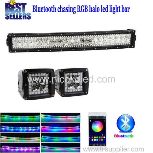 "Nicoko 22""120W Curved LED Light Bar +Led work light with RGB chaser Halo for Offroad 12v 24v Driving Truck bluetoot"