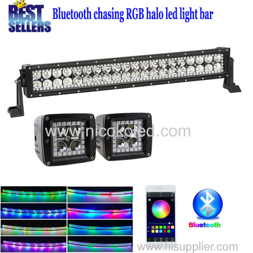 "Nicoko 22""120W straight LED Light Bar+Led work light with RGB chaser Halo for offroad truck 12v 24v Truck by Bluetooth"
