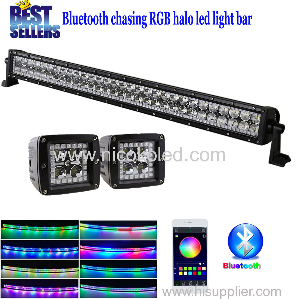 "Nicoko Straight 32""180W Bluetooth APP Controlled LED work Light Bar +Led work light w/ RGB chasing for Truck Indicators"