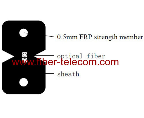 2-fiber FTTx Drop Cable with FRP Strength member
