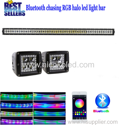 "Nicoko 42""240W straight LED Light Bar + Led work light with RGB chasing with Bluetooth App Controlled for SUV Car Picku"