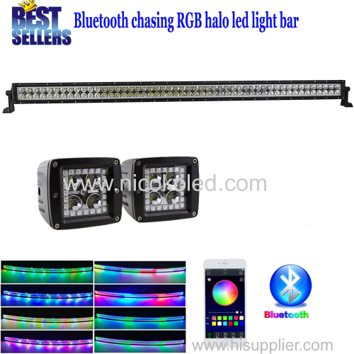 "Nicoko 50""288W striaght LED Light Bar+2pcs led pods with RGB chaser Halo by Bluetooth App control for Toyota/Pic"