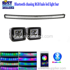 Nicoko 50inch 288W Curved LED Light Bar+2pcs led pods with RGB chaser Halo for Cars Truck by Bluetooth App control