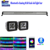 "Nicoko 52""300W Straight Chaser RGB Halo LED Light Bar Rock lights Head Lamp with 2xLed pods halo by Bluetooth Control"