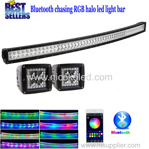 "Nicoko 52""300W Curved Chasing RGB Halo LED Light Bar Rock lights with 2xLed pods halo by Bluetooth Control for trucks"