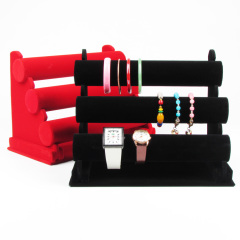 Velvet Jewelry Display T-Bar Head Wear Headband Hair Hoop Bangle Bracelet Stand Rack Jewellery Holder
