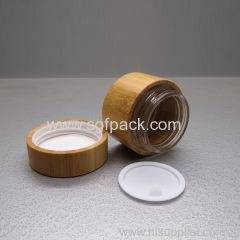 wood cosmetic packaging glass jar