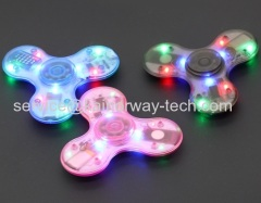 LED Light Wireless Speaker Crystal Clear Fidget Hand Tri Spinners With Built In Bluetooth EDC Fingertip Gyro Toys