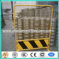 Yellow Pedestrian Outdoor Metal Barricade with wheels in singapore