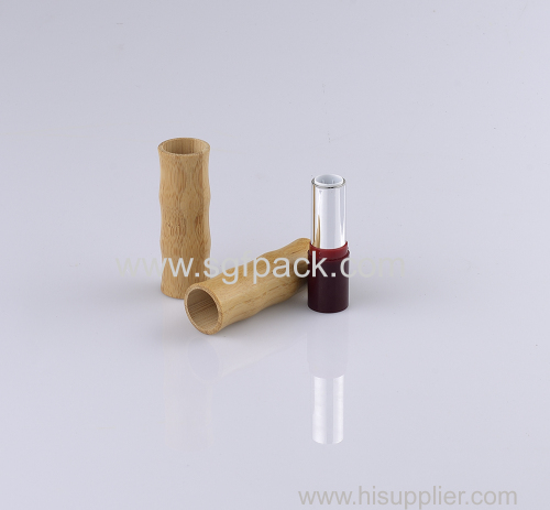 empty bamboo lipstick tube red lipstick container