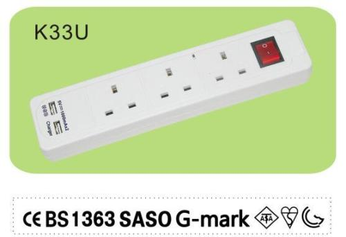 UK type 3 way socket outlet power strip with switch