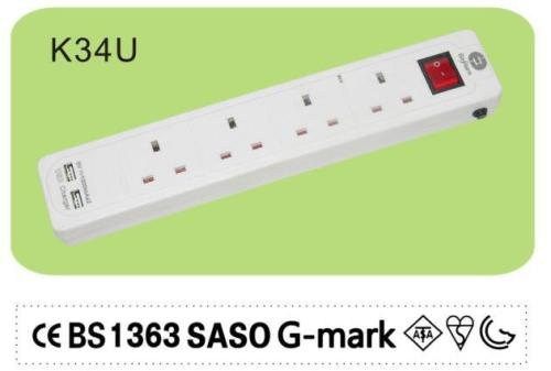 UK type 4 way socket outlet power strip
