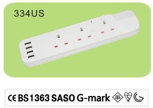 G mark UK Power Strip with 4 USB Port
