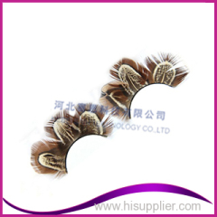 Colored Feather False Eyelashes With Brown Makeup Fake Eyelashes