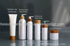 Plastic cosmetic packaging containers with bamboo lids