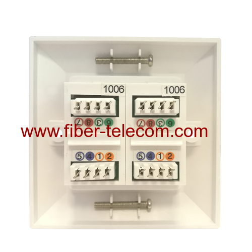 2ports UK type Bevelled Wall Plate with CAT5e Keystone Jack