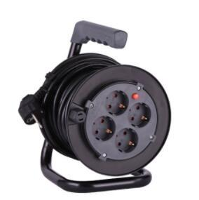 multiple electrical extension spring loaded mini cable reel with children protection