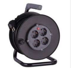 Garage tool electric cable reel with socket