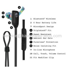 New Skullcandy XT Free Wireless In-Ear Sport Bluetooth Performance Headphone Earbuds With Mic