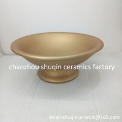matt gold plate dolomite plate ceramic plate ceramic pot