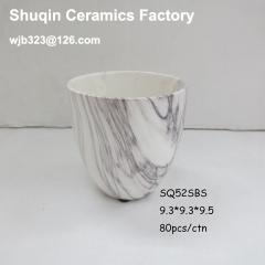 "4"" mini vase ceramic pot with dolomite material modern marble finish"