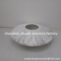 flat white color ceramic vase with marble finish indoor flower pot