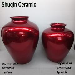 red ceramic vase table vase indoor artificial flower vase