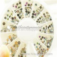 Hot Sale Round Nail Rhinestones Flat Back Acrylic UV Gel Decor Manicure Nail Art Strass Gem Wheel Kit(D59)