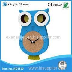 Owl Shape Fun Plastic Pendulum Wall Clock