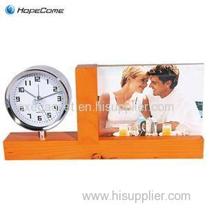 Wooden Desk Clock With Photo Frame