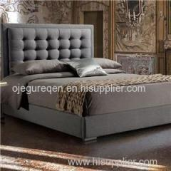 New Double/Queen/King Grey Linen Upholstered Bed Frame With Button Tufted Bed Head