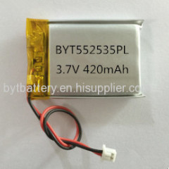 UL Approved 552535 3.7V 420mAh Lithium-polymer Battery for Medical Devices