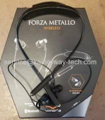V-MODA Unveils Forza Metallo Wireless Neckband Bluetooth Stereo Headphone Earbuds Mic Remote Gunmetal Black