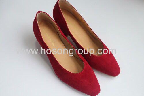 Plain toe suede chunky heel lady dress shoes