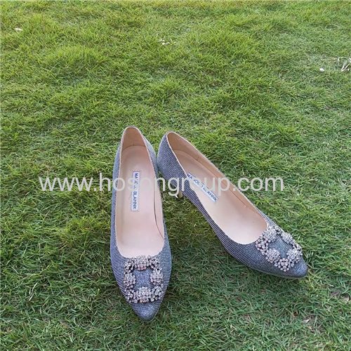 Glittering women high heels with rhinestone