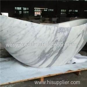 Arabescato Carrara White Oval Shape Bathing Tub