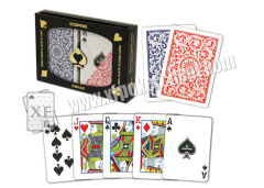 Copag 1546 Red And Blue / Golden And Black Plastic Cards With Regular Index Size