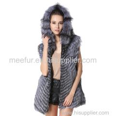 Womens Winter Genuine Fur Long Vests Zipper Closed Fur Sleeveless Overcoats Silver Fox Fur Waistcoats with Hood