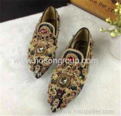 Beading and rhinestone pointy toe flat lady dress shoes