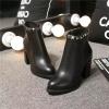 Waterproof pointy toe chunky heel women boots