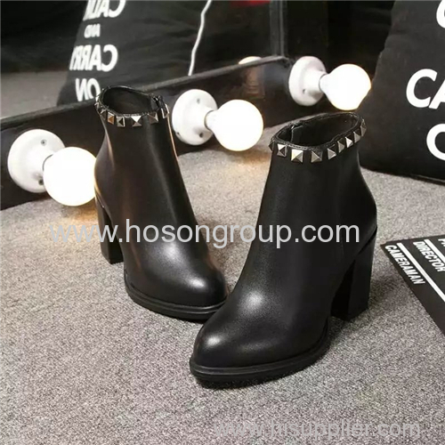Mulheres waterproof pointy toe chunky heel ankle boots