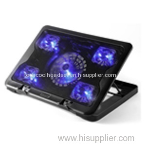 High quality 5 blue LED fan metal laptop cooling pad with stand