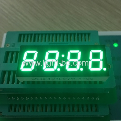 Pure Green 0.4inch 4 digit 7 segment led display common anode for instrument panel