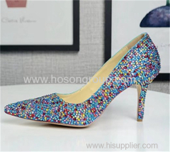 Colorful rhinestone lady high heel dress shoes
