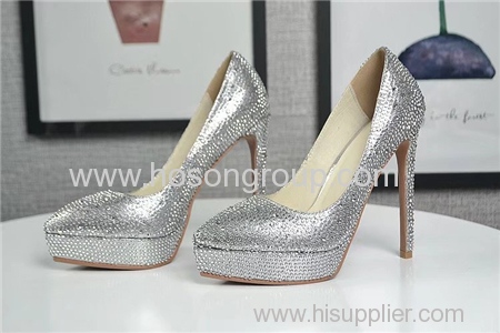 Pointy toe rhinestone lady high heel dress shoes