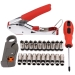 RG6 Coaxial Wire Stripper Crimper Tool Set Kit Connectors Tool Rotary Stripper (20 Connectors) and cross screw driver