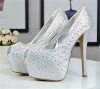 Fish mouth rhinestone women super high heel dress shoes