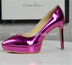 Patent leather point toe lady high heel shoes