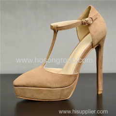 Buckle pointed toe T strap lady high heel sandals