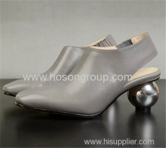 Special metal heel plain toe lady dress shoes